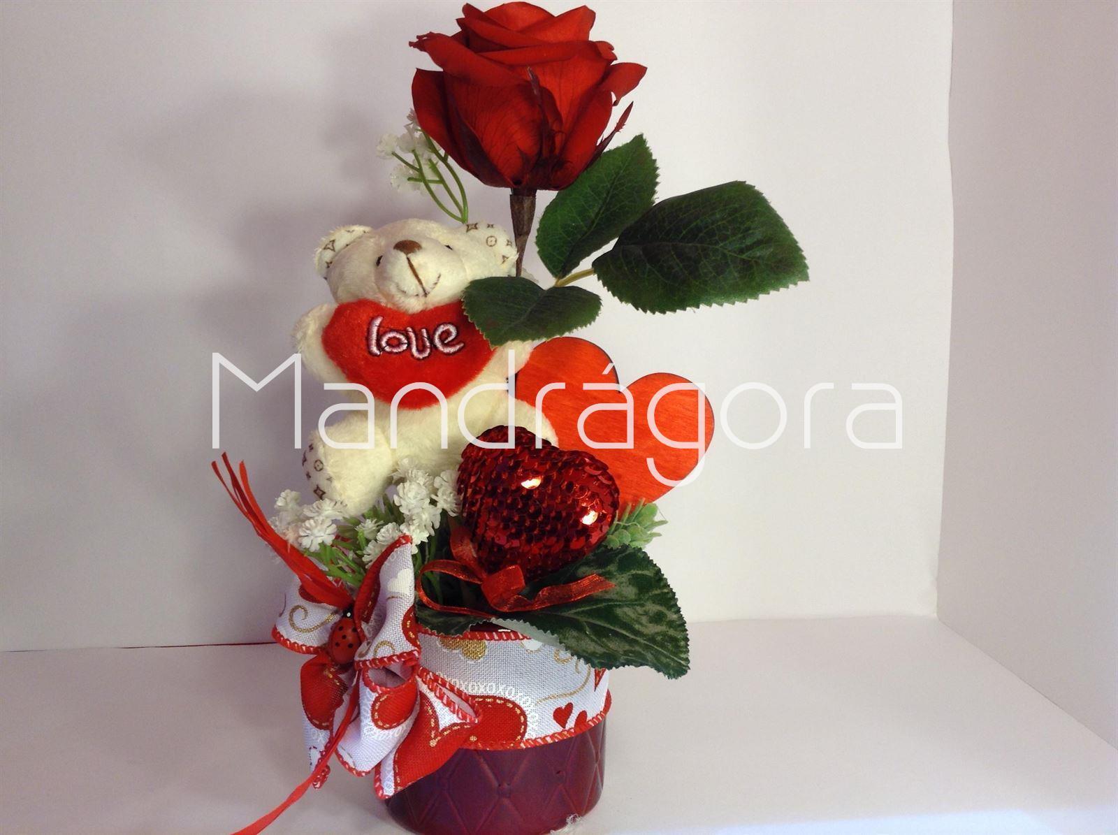 Rosa Roja Eterna Con Peluche San Valentin